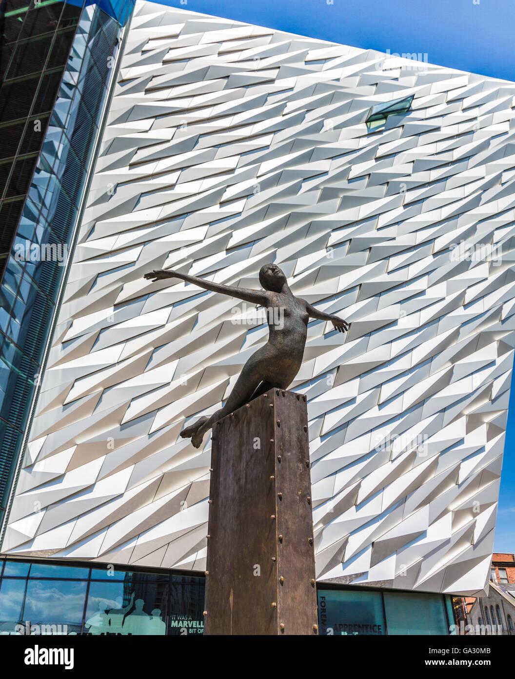 statue in front of titanic museum belfast ireland - Stock Image