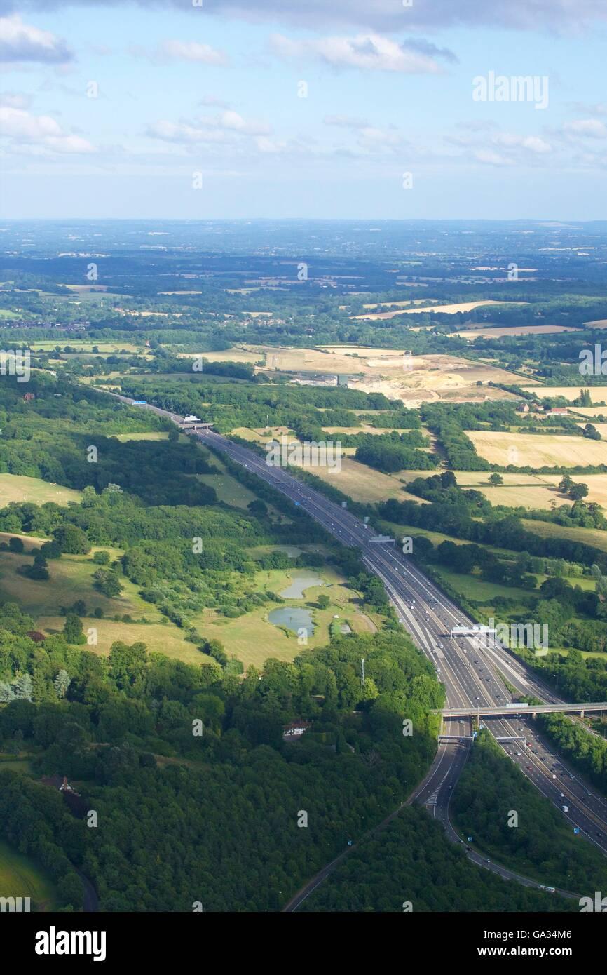 Aerial photo of M25, near Redhill, Surrey, England, UK, GB - Stock Image