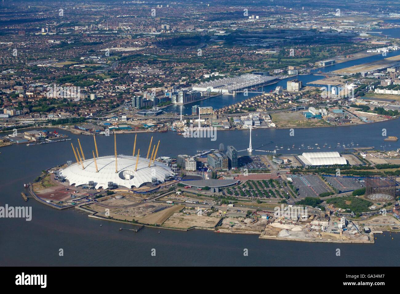 Aerial view of London City Airport and O2 Arena, London, England, UK, GB - Stock Image