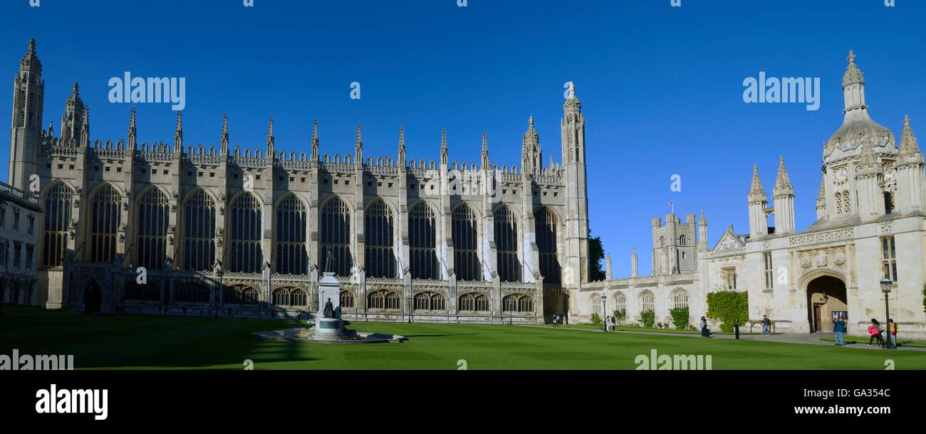 Chapel, Gatehouse and Front Court, King's College,  Cambridge University, Cambridgeshire, England, UK, GB, Europe - Stock Image