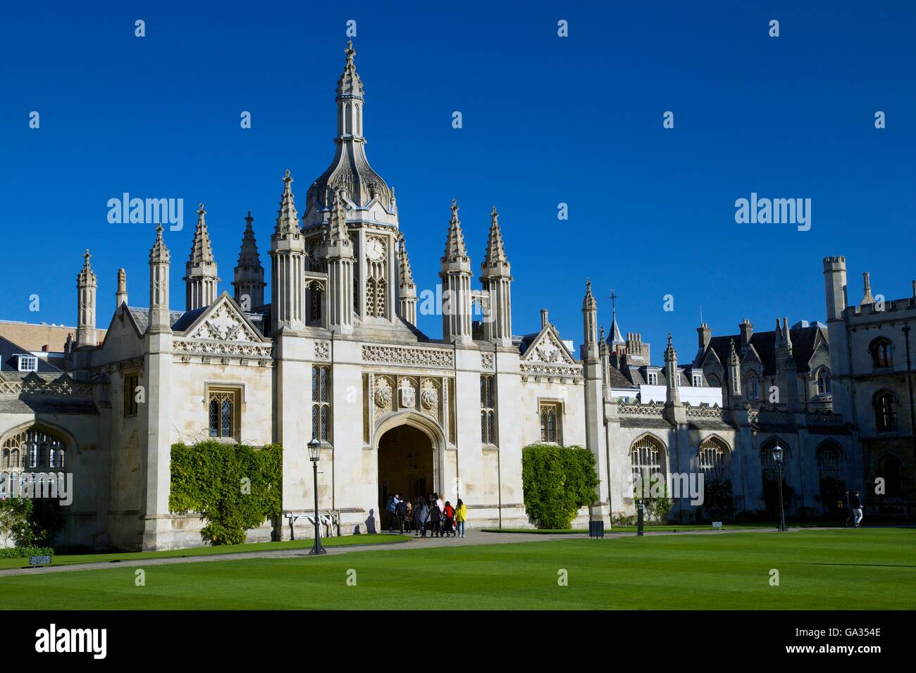 Gatehouse and Front Court, King's College,  Cambridge University, Cambridgeshire, England, UK, GB, Europe - Stock Image