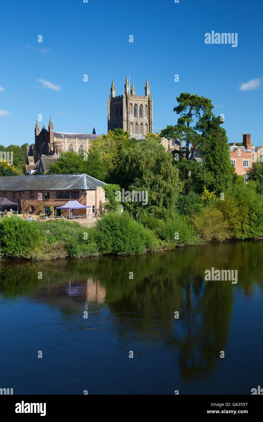 Hereford Cathedral and River Wye, Herefordshire, England, UK, GB, Europe - Stock Image