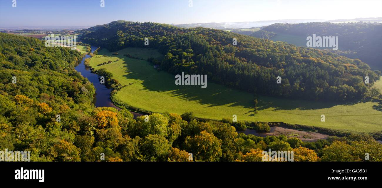 Autumn view north over Wye Valley from Symonds Yat Rock, Forest of Dean, Herefordshire, England, UK, GB, Europe - Stock Image