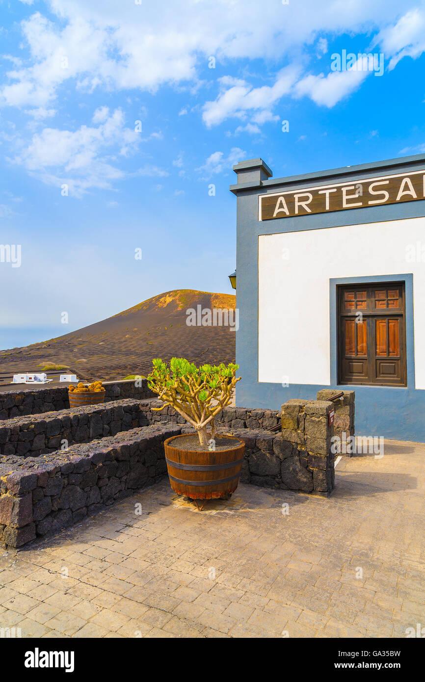 LA GERIA, LANZAROTE ISLAND - JAN 11, 2015: Terrace of winery in La Geria, Lanzarote, Canary Islands, Spain. - Stock Image