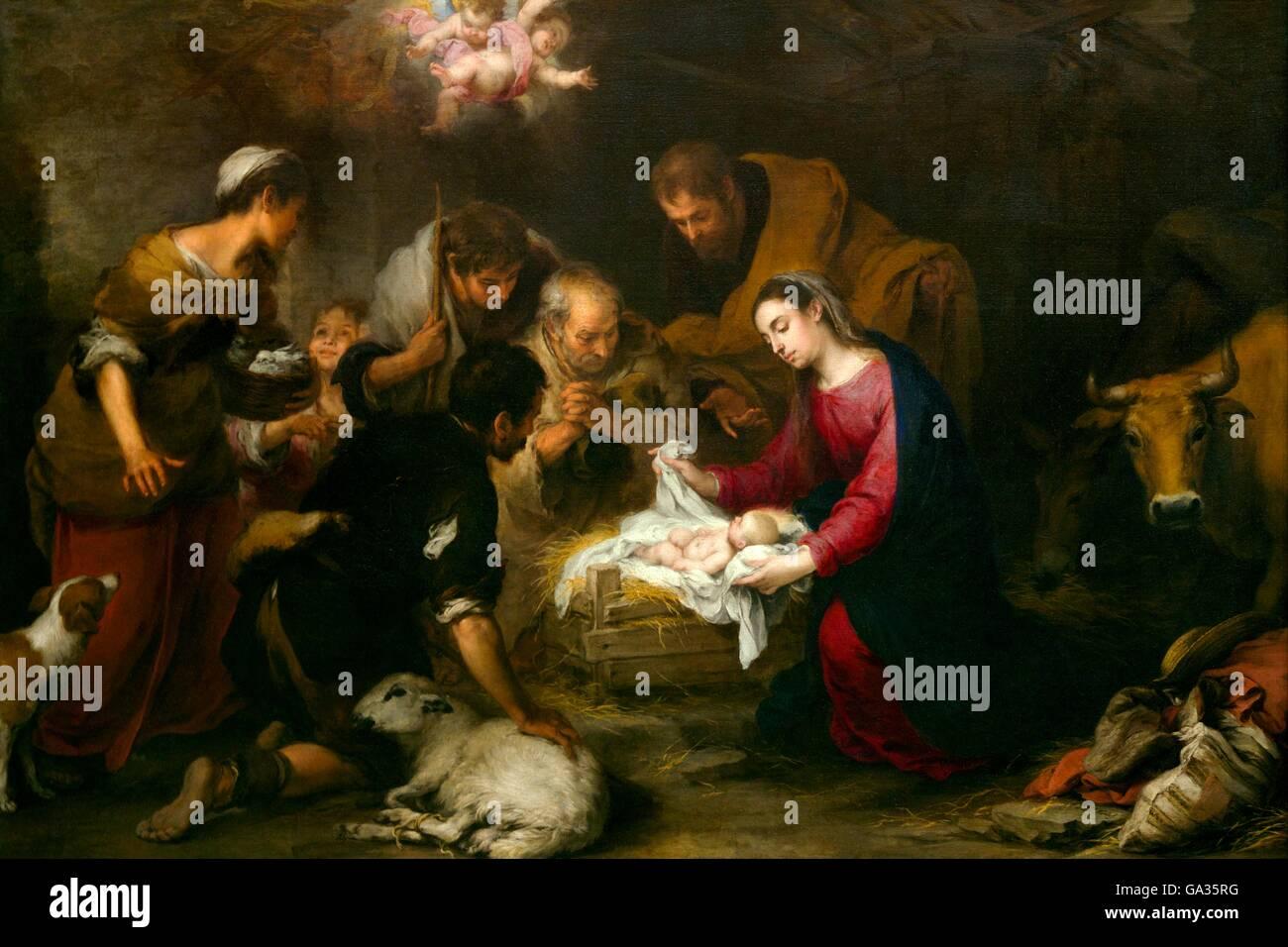 Adoration of the Shepherds, by Bartholomew Murillo, Wallace Collection, London, England, UK, GB, Europe - Stock Image
