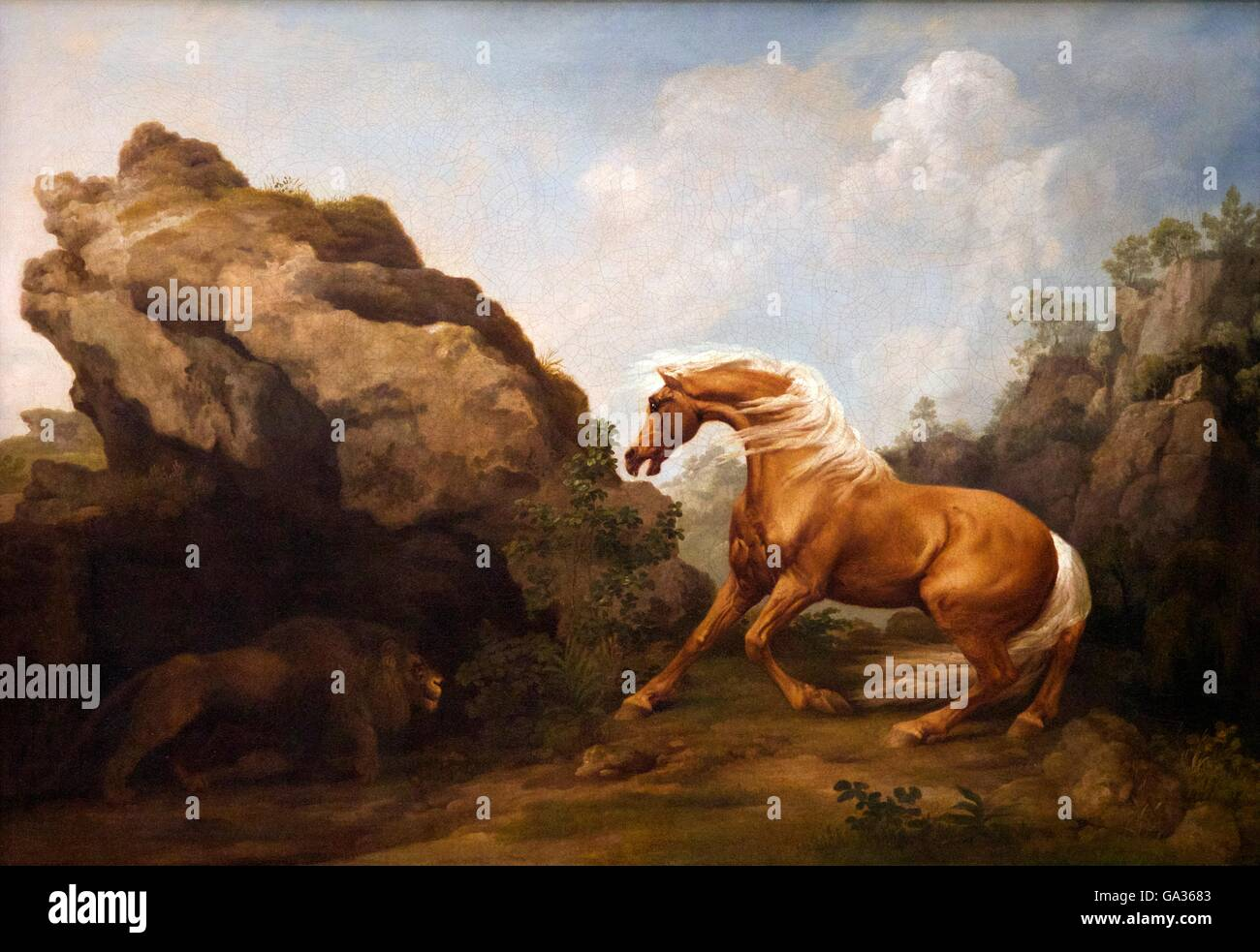 Horse frightened by a Lion, George Stubbs, 1763 England, UK - Stock Image