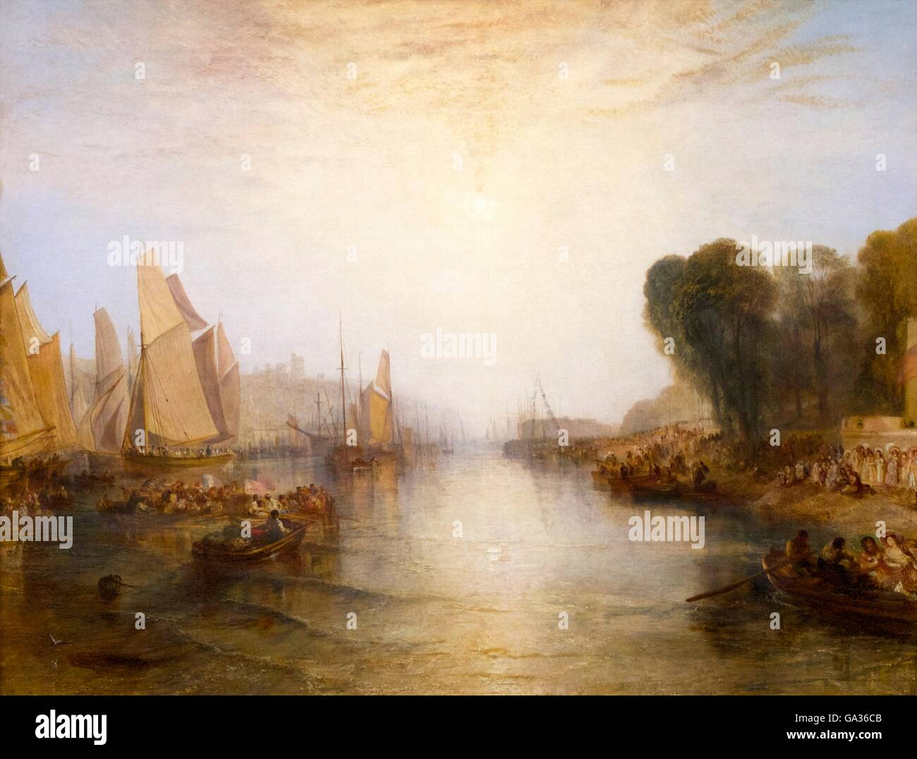 East Cowes Castle: Regatta Starting for their Moorings, by JMW Turner, 1828, Victoria and Albert Museum, London, - Stock Image
