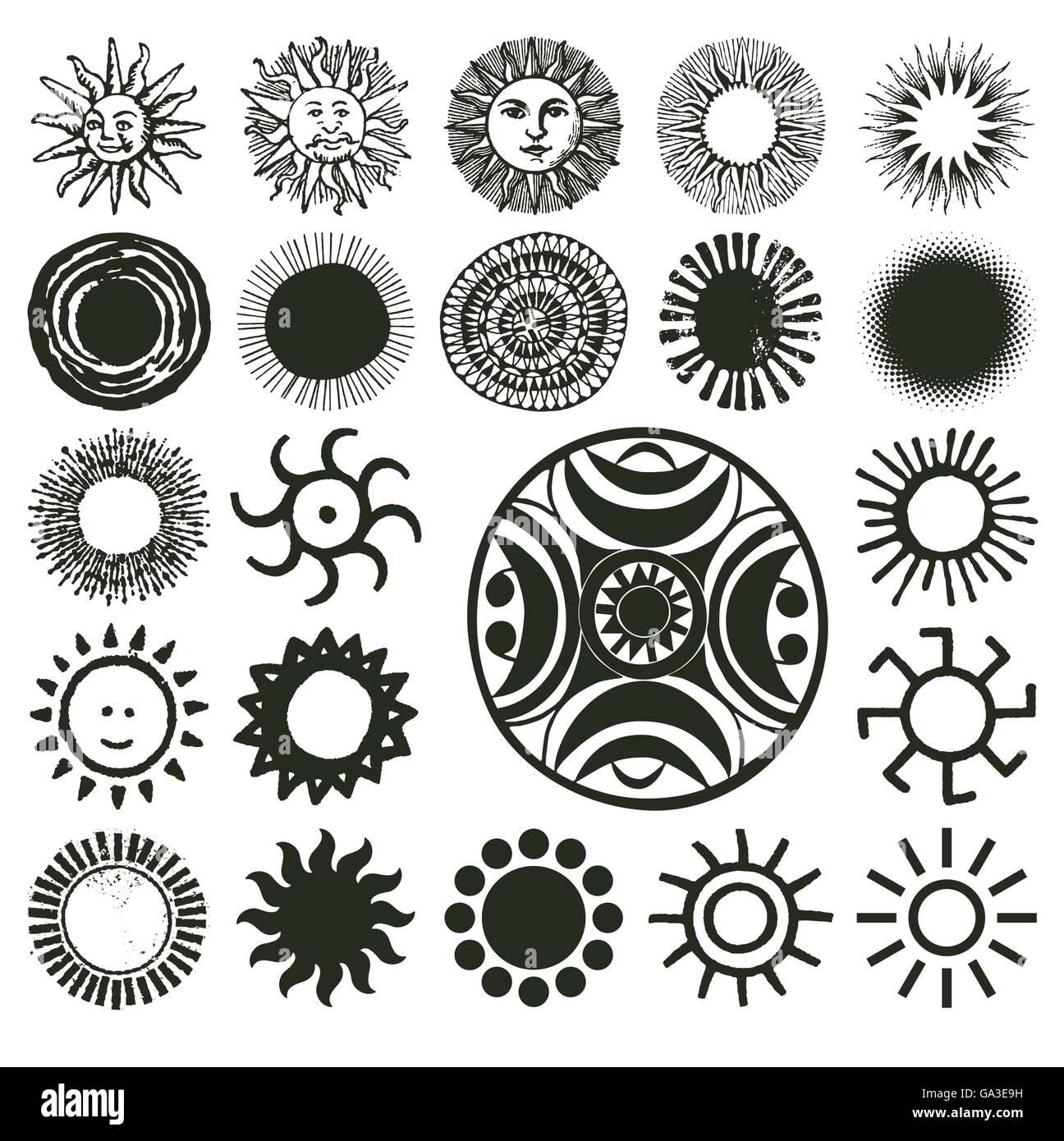 Ancient, old, traditional and modern sun symbols - Stock Image