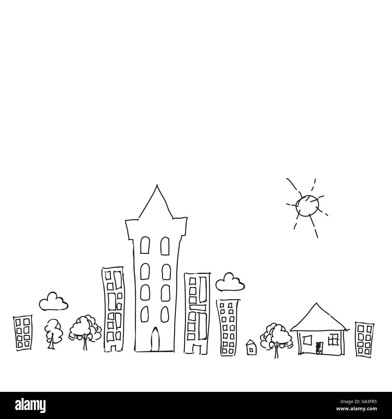 Doodle Town Draw With Sun Collection Set Of Drawing Buildings And