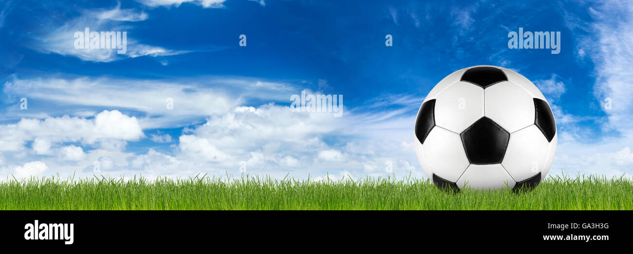 retro black white leather soccer ball on grass in front of blue sky - Stock Image