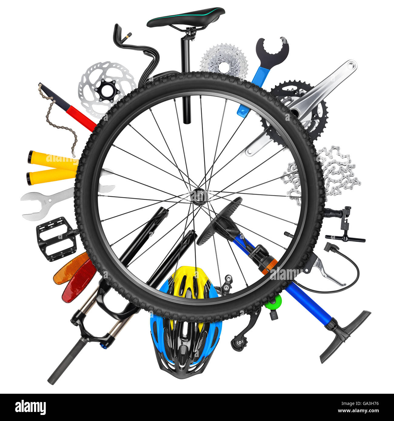 bicycle bike part isolated collage concept wheel tyre tire sport rim component white background accessory equipment - Stock Image