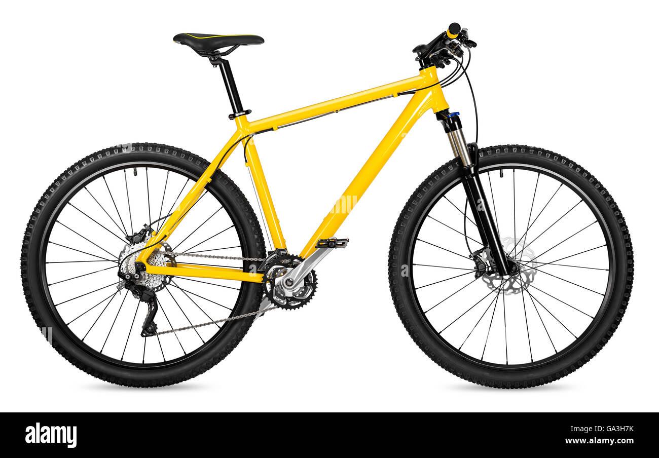 yellow 29er mountain bike isolated on white background - Stock Image