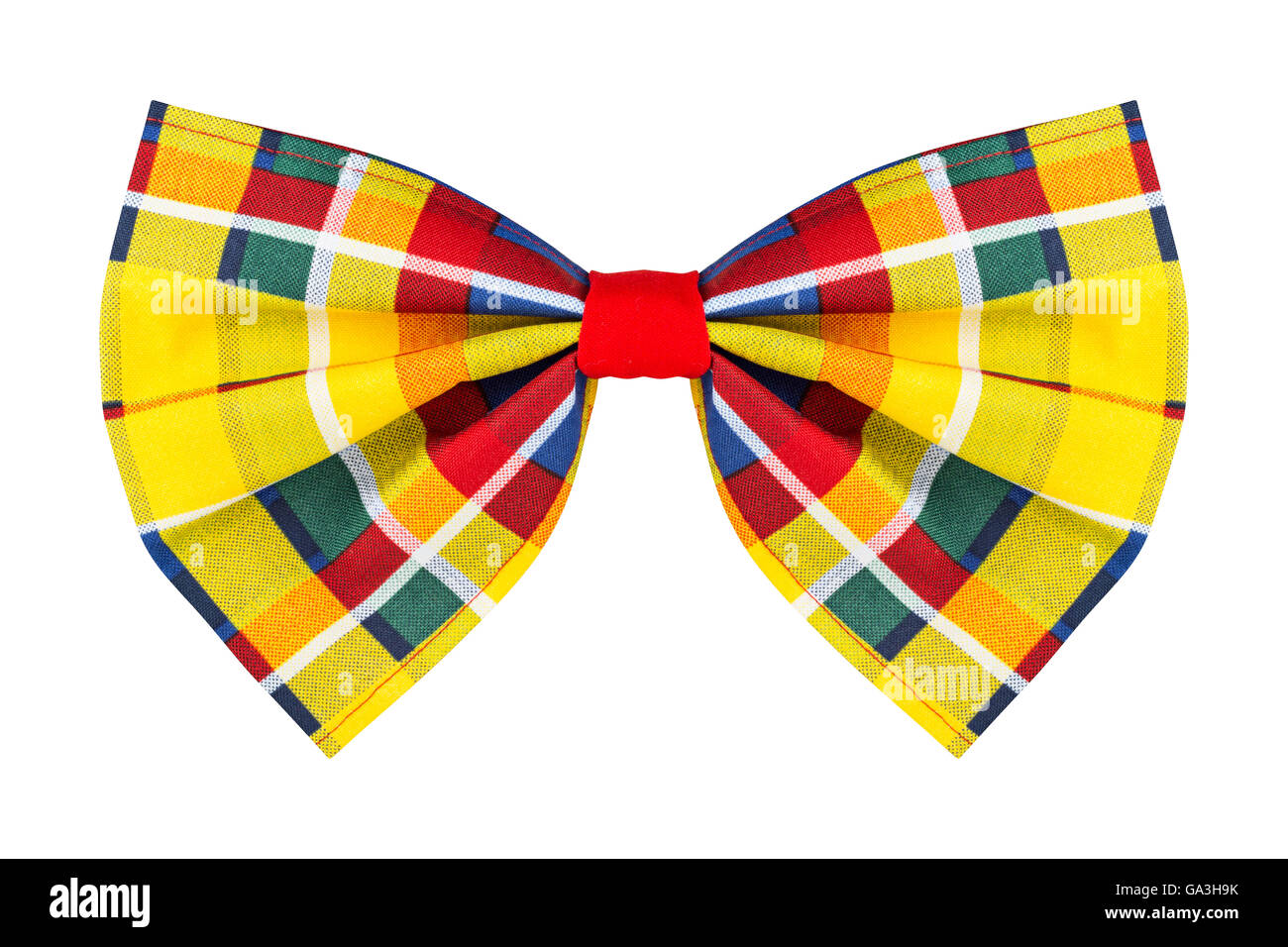 colorful checkered bow tie isolated on white background - Stock Image