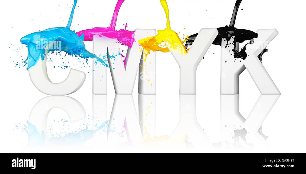CMYK paint splash on letters isolated on white background - Stock Image