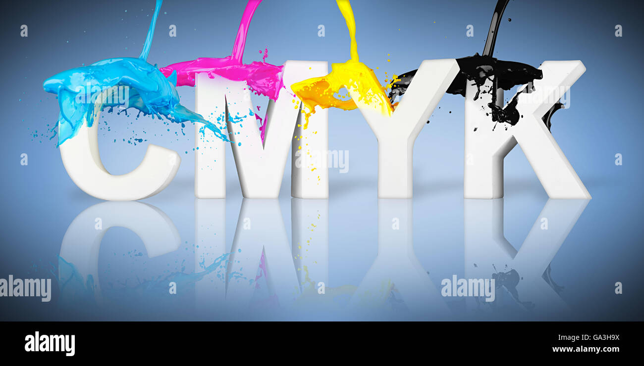 CMYK paint splash on letters on blue background - Stock Image