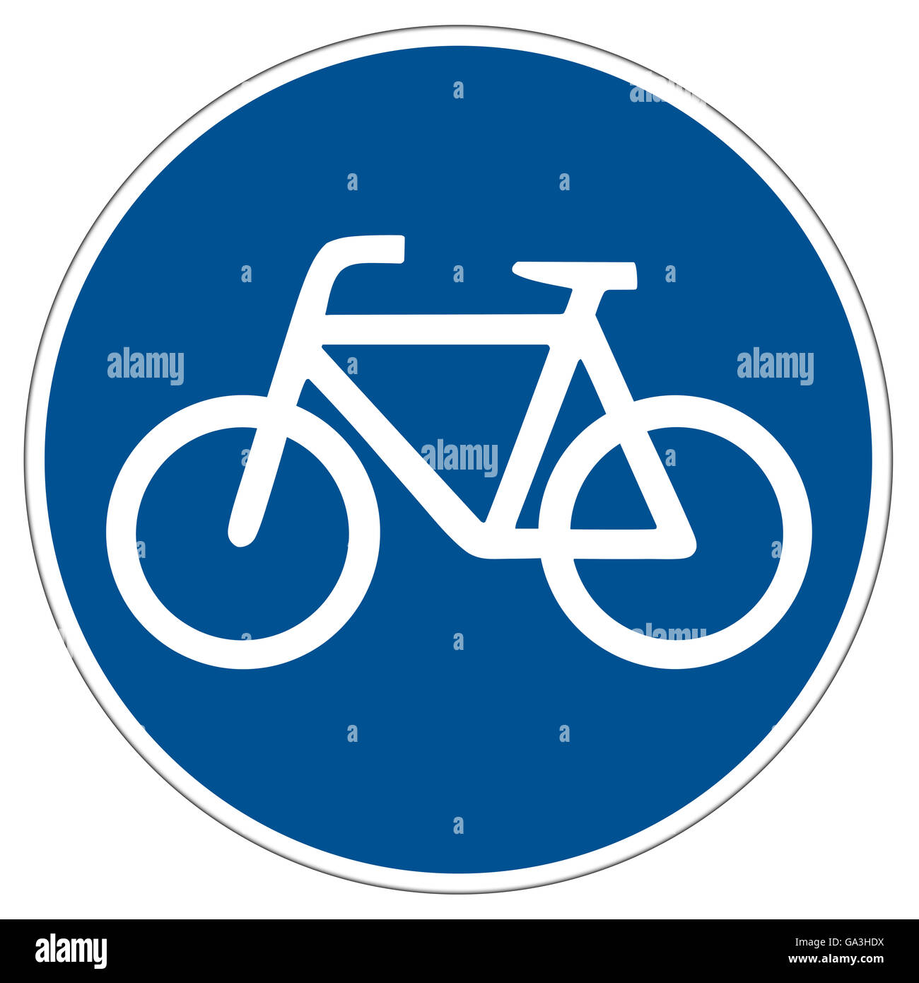 illustration of a german bicycle lane sign isolated on white background - Stock Image
