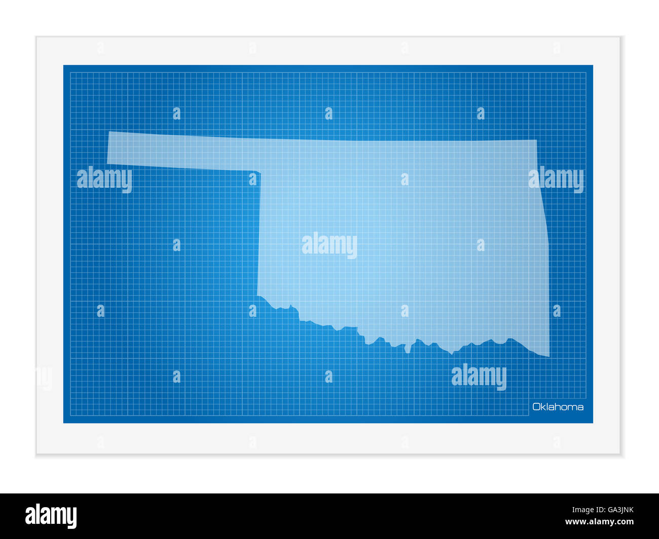 Oklahoma outline vector stock photos oklahoma outline vector stock oklahoma on blueprint on a white background stock image malvernweather Image collections