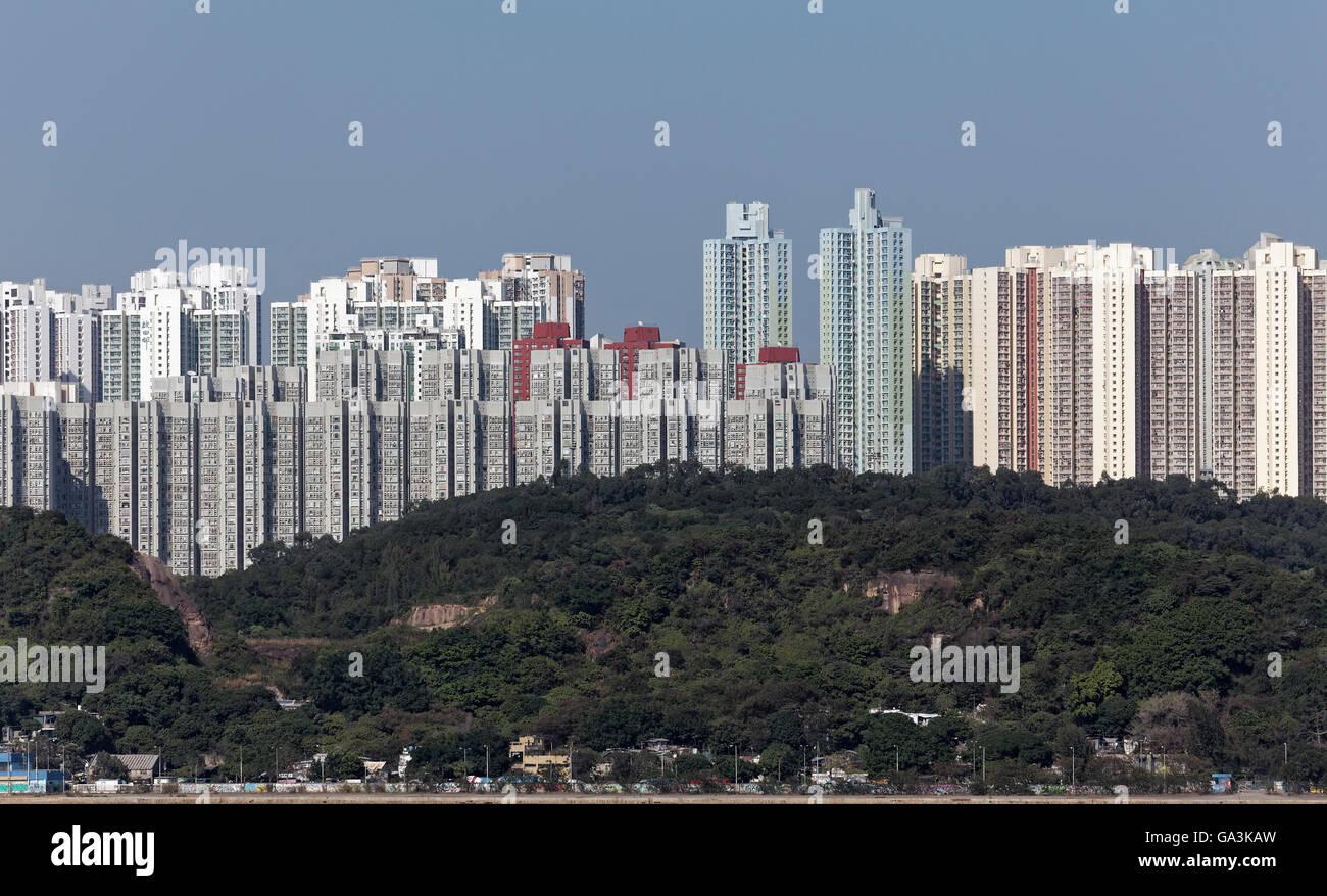 Residential towers, social housing, Kwun Tong District, East Kowloon, Hong Kong, China - Stock Image