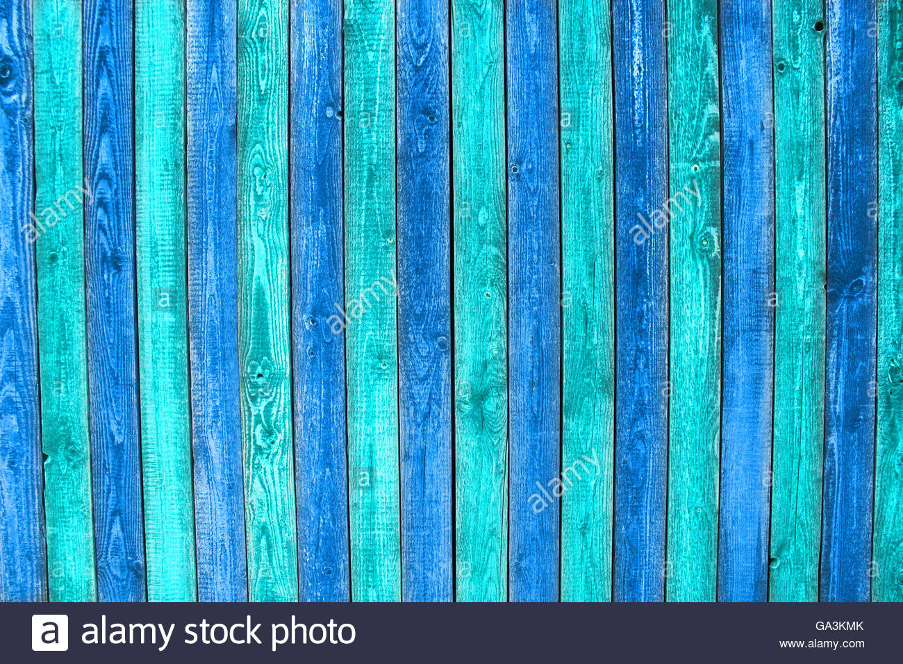 blue painted wooden planks - Stock Image