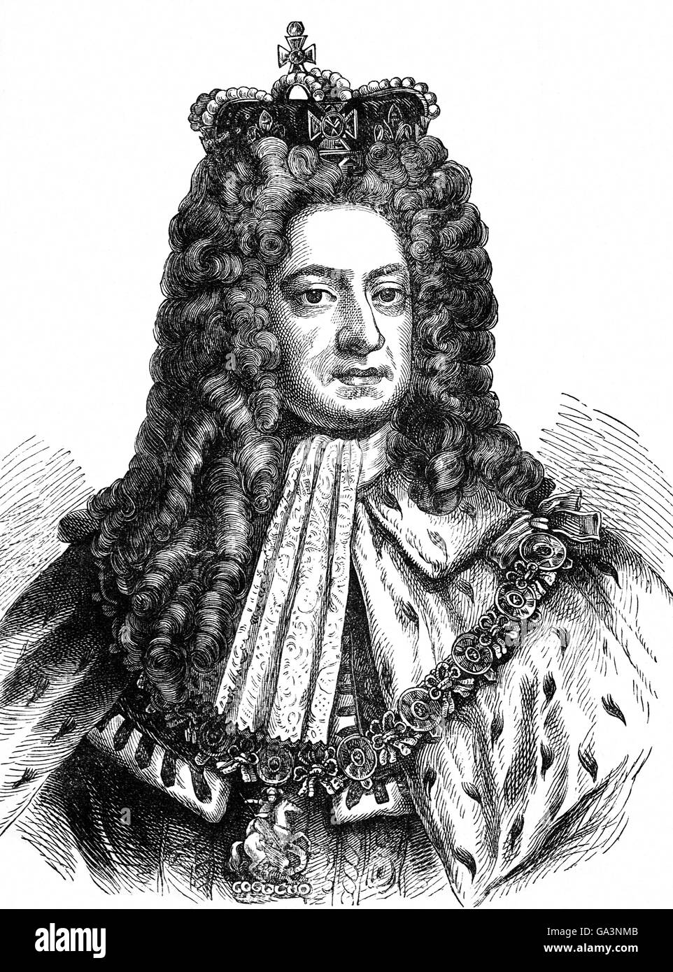 George I (1660 – 1727) was selected as King of Great Britain and Ireland from 1st August 1714 until his death, although - Stock Image