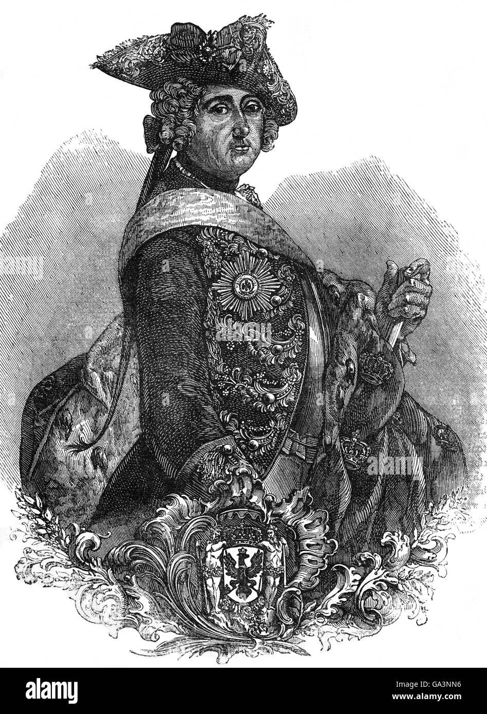 Frederick II (1712 – 1786) was King of Prussia from 1740 until 1786.  His most significant accomplishments during - Stock Image