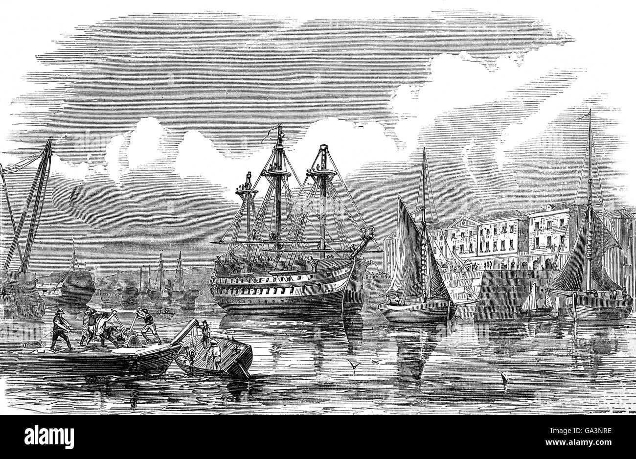Plymouth  is a city on the south coast of Devon, HMNB Devonport, a dockyard opened in 1690 on the eastern bank of Stock Photo
