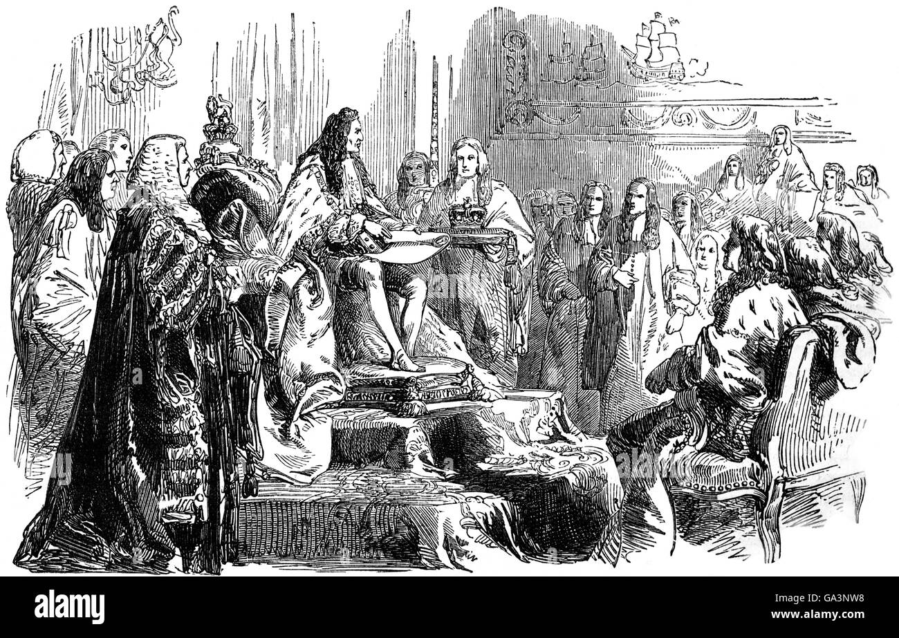 King William III giving Royal Assent to the Toleration Act 1689 in  Parliament. The Act allowed freedom of worship to Nonconformists who had  pledged to the ...