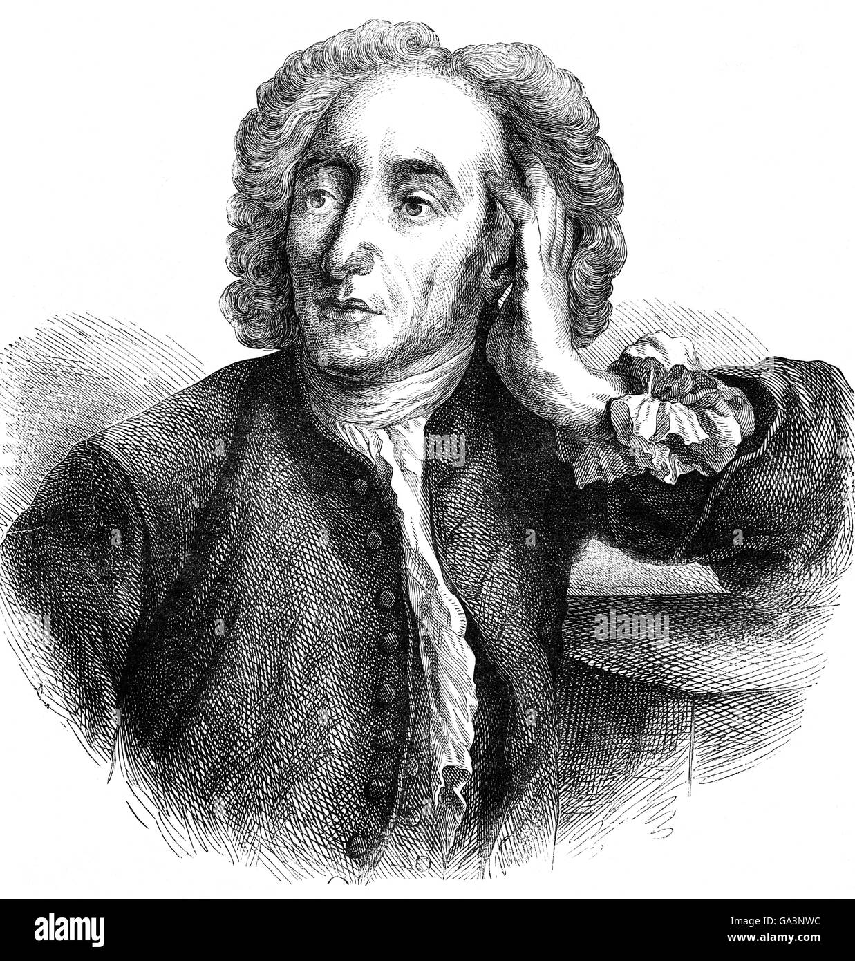 Alexander Pope (1688 – 1744) was an 18th-century English poet.  He is best known for his satirical verse, as well - Stock Image