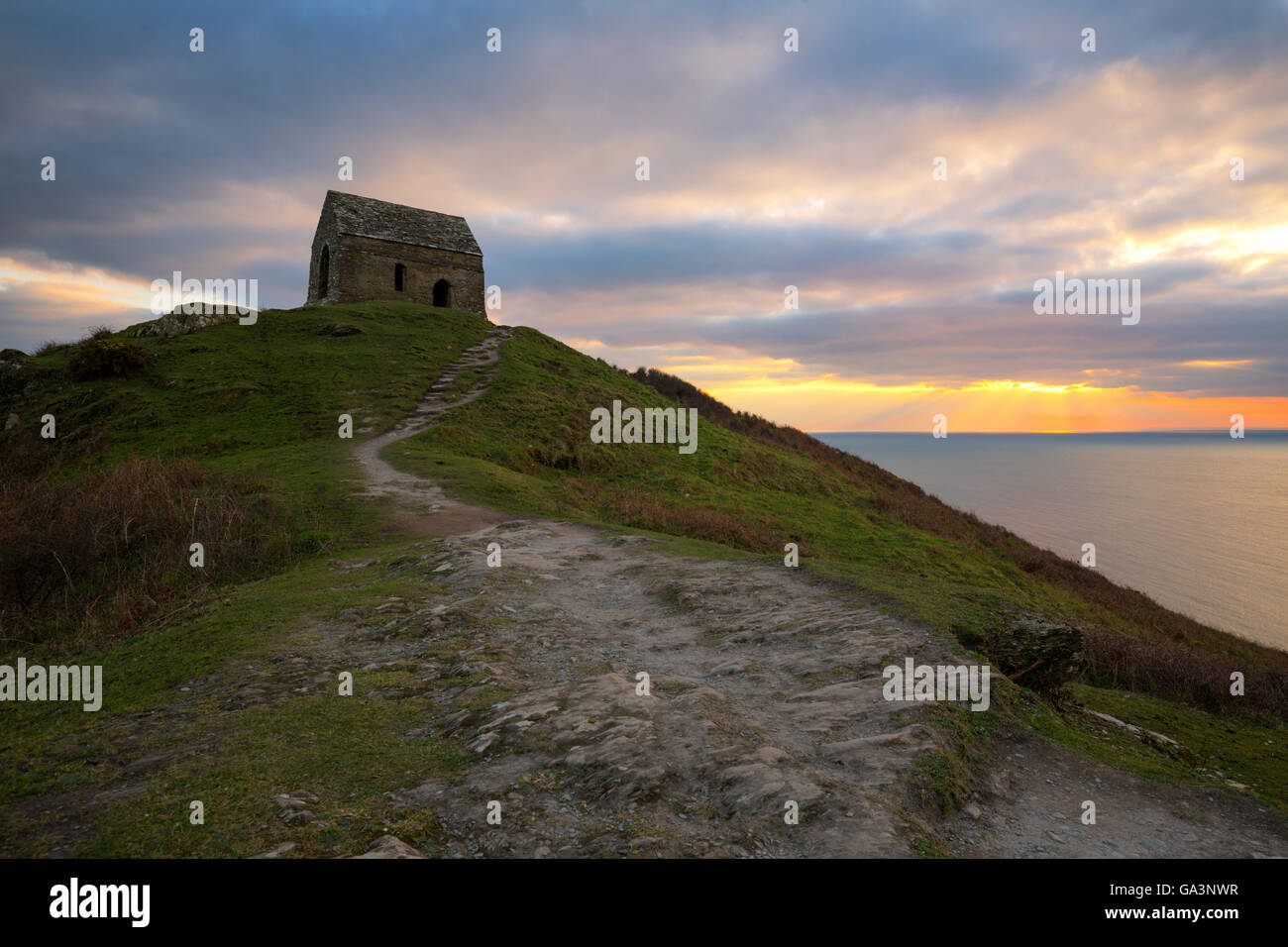 Chapel of St Michael at Rame Head - Stock Image