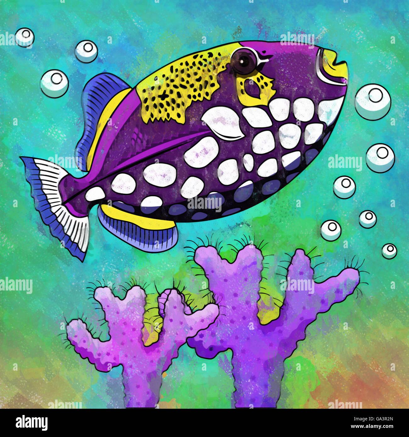 Colorful Aquarium Fish Stock Photo
