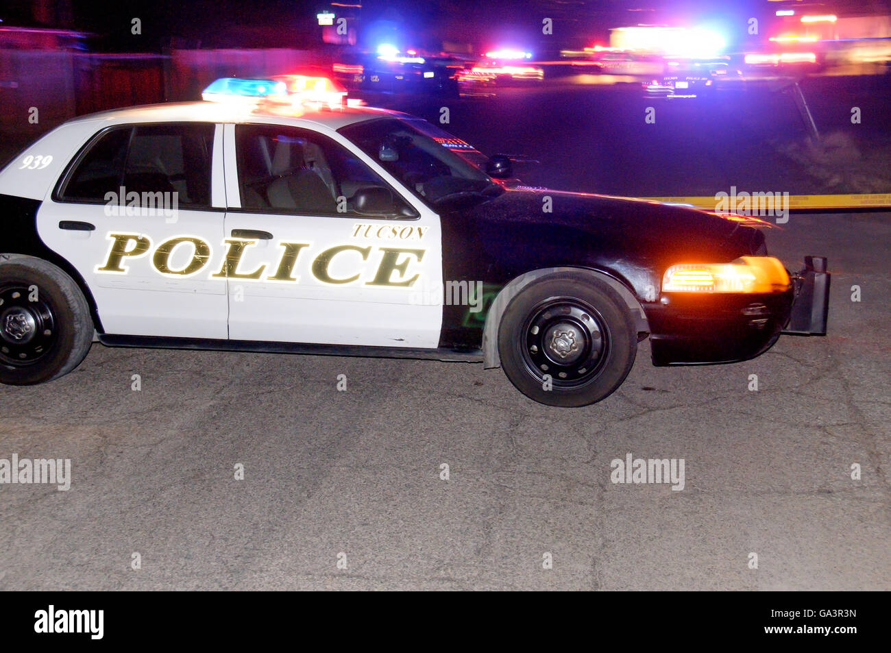 Police respond to a fatal shooting of a 30-year-old man at a party where narcotics were used in midtown Tucson, Stock Photo