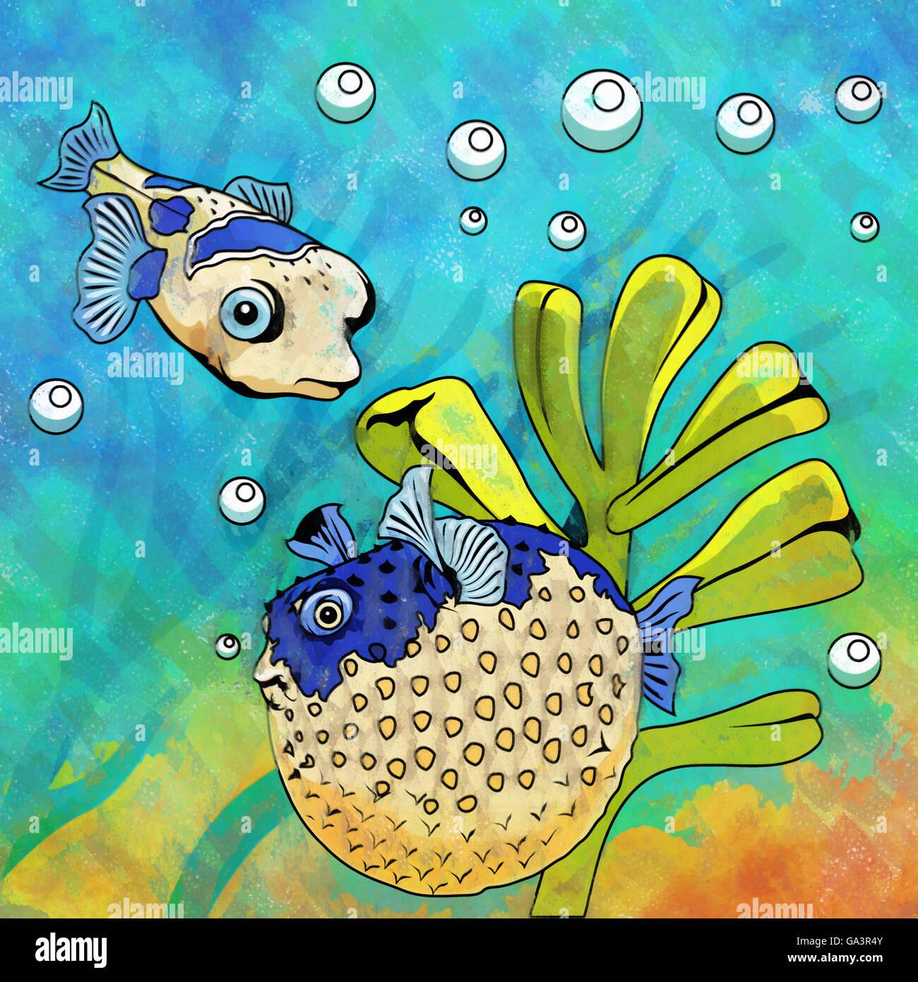 Colorful Aquarium Fishes Stock Photo