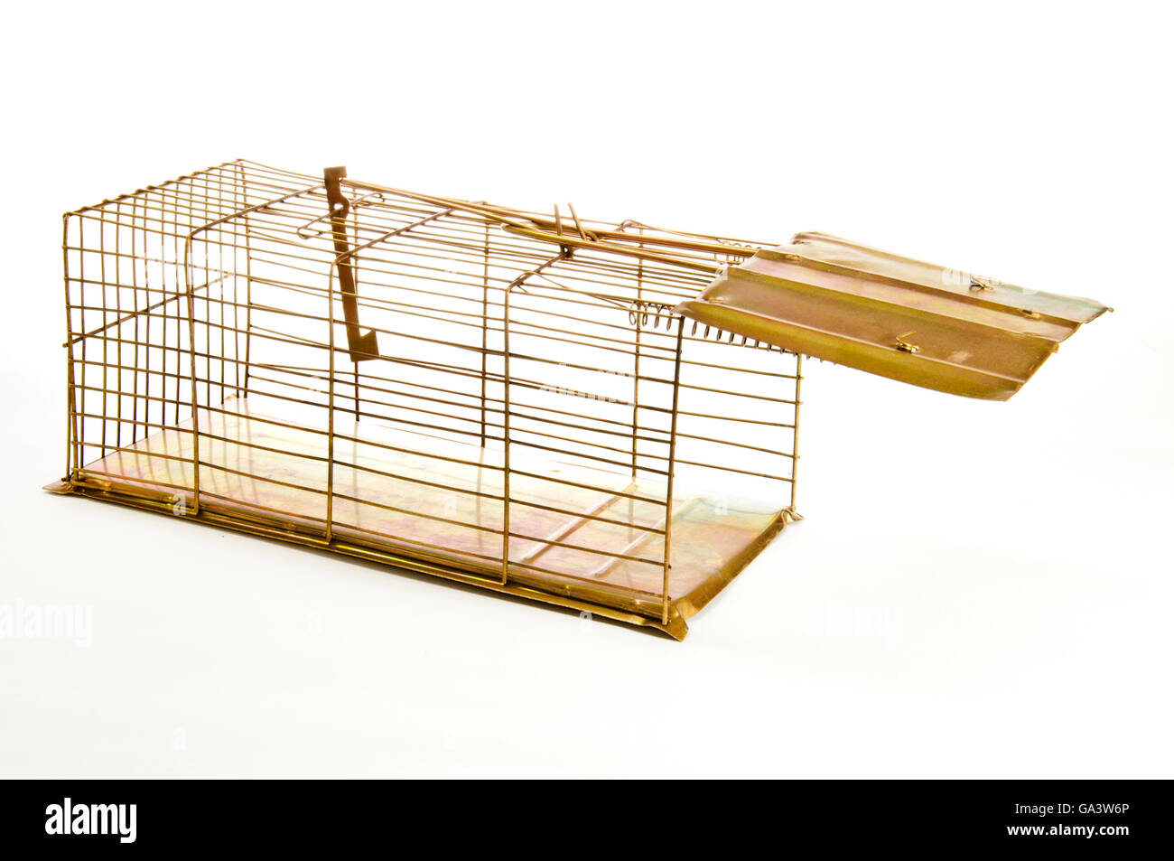 Old Mouse Trap Isolated on White Background Stock Photo