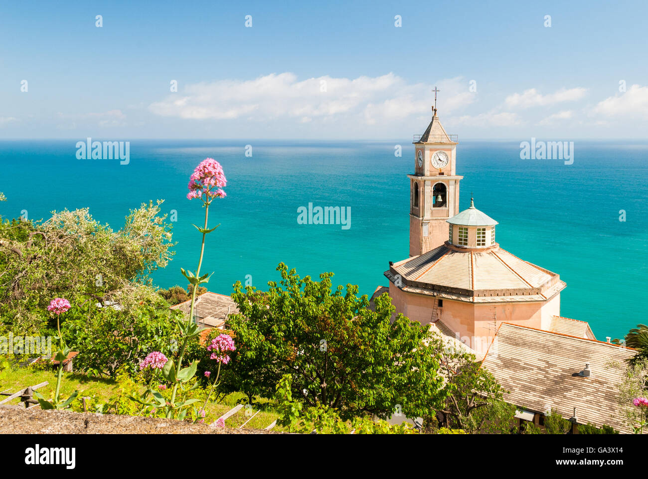The church of S. Eugenio, in the small hill district of Genoa called Crevari - Stock Image