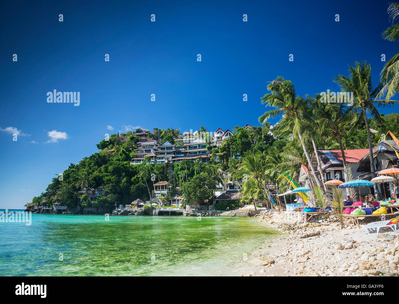 exotic diniwid beach resorts in tropical paradise boracay philippines - Stock Image