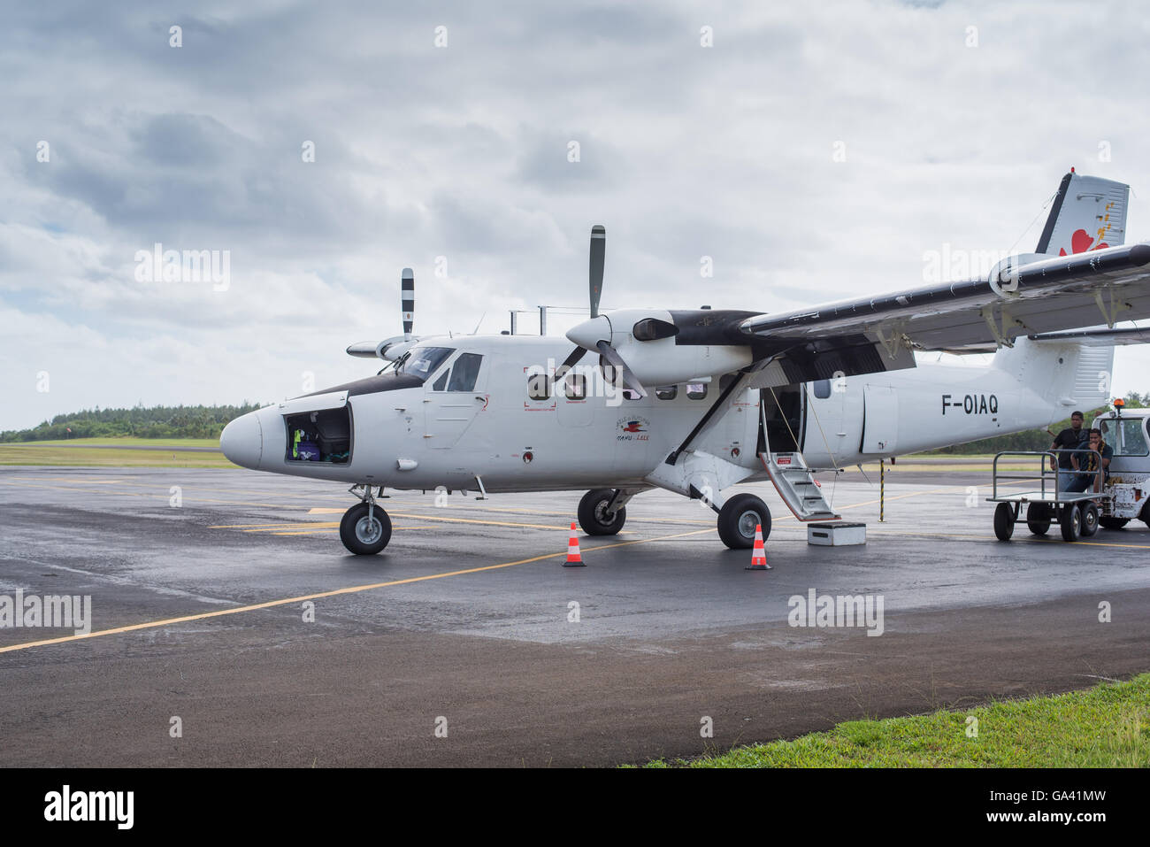 Twin Otter of AirCalin at the Futuna airport waiting for passenger - Stock Image