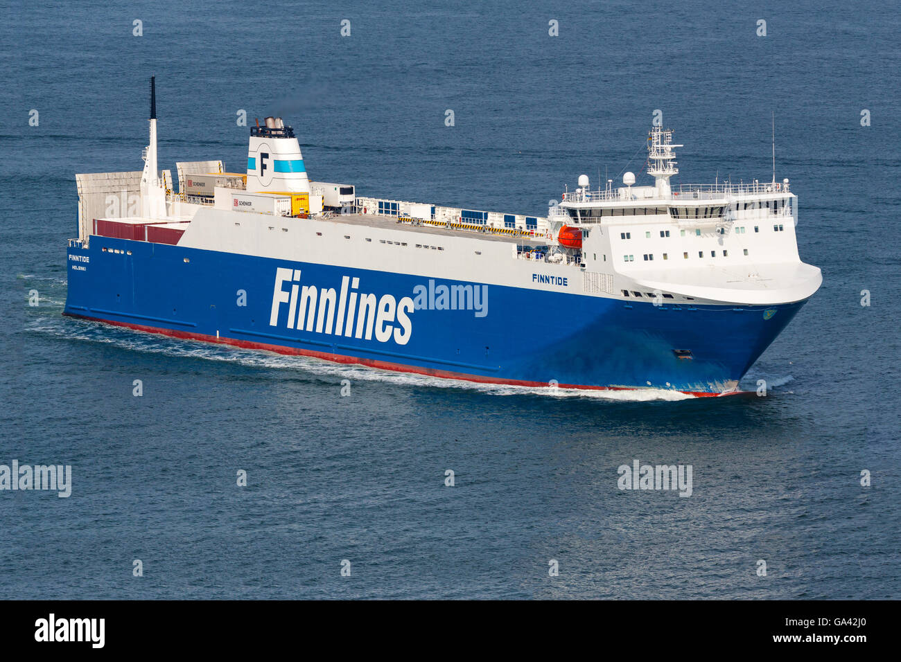 Finnlines' 'Finntide' arriving at the harbour of Travemünde, Germany. - Stock Image