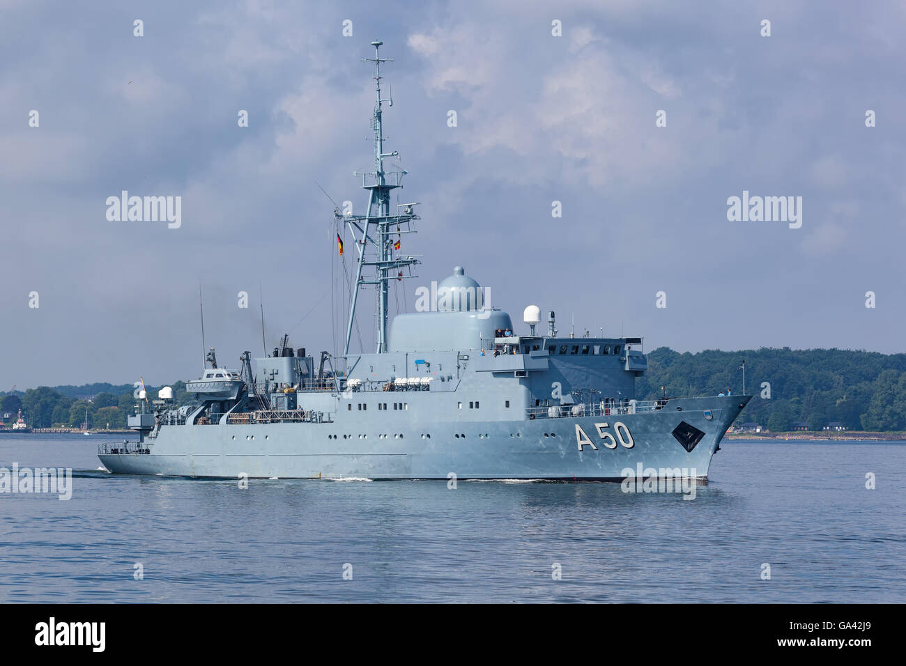 German Navy intelligence ship Alster (A 50) at Kiel, Germany. - Stock Image