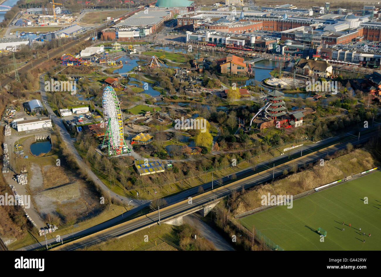 View from Gasometer, on CentrO Park, Shopping centre CentrO, Oberhausen, Ruhr area, North Rhine-Westphalia, Germany Stock Photo