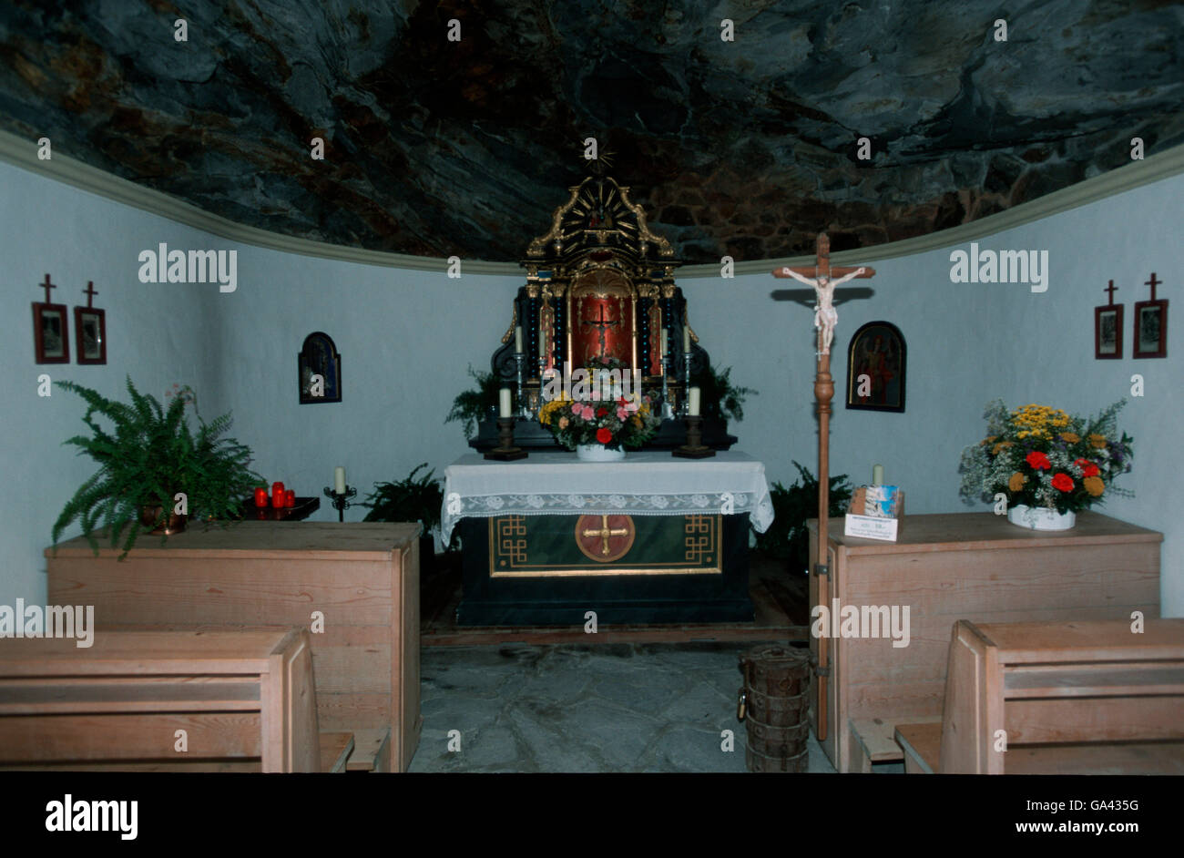 Inside of the Rock Chapell, north of Matrei, Austria / alps - Stock Image