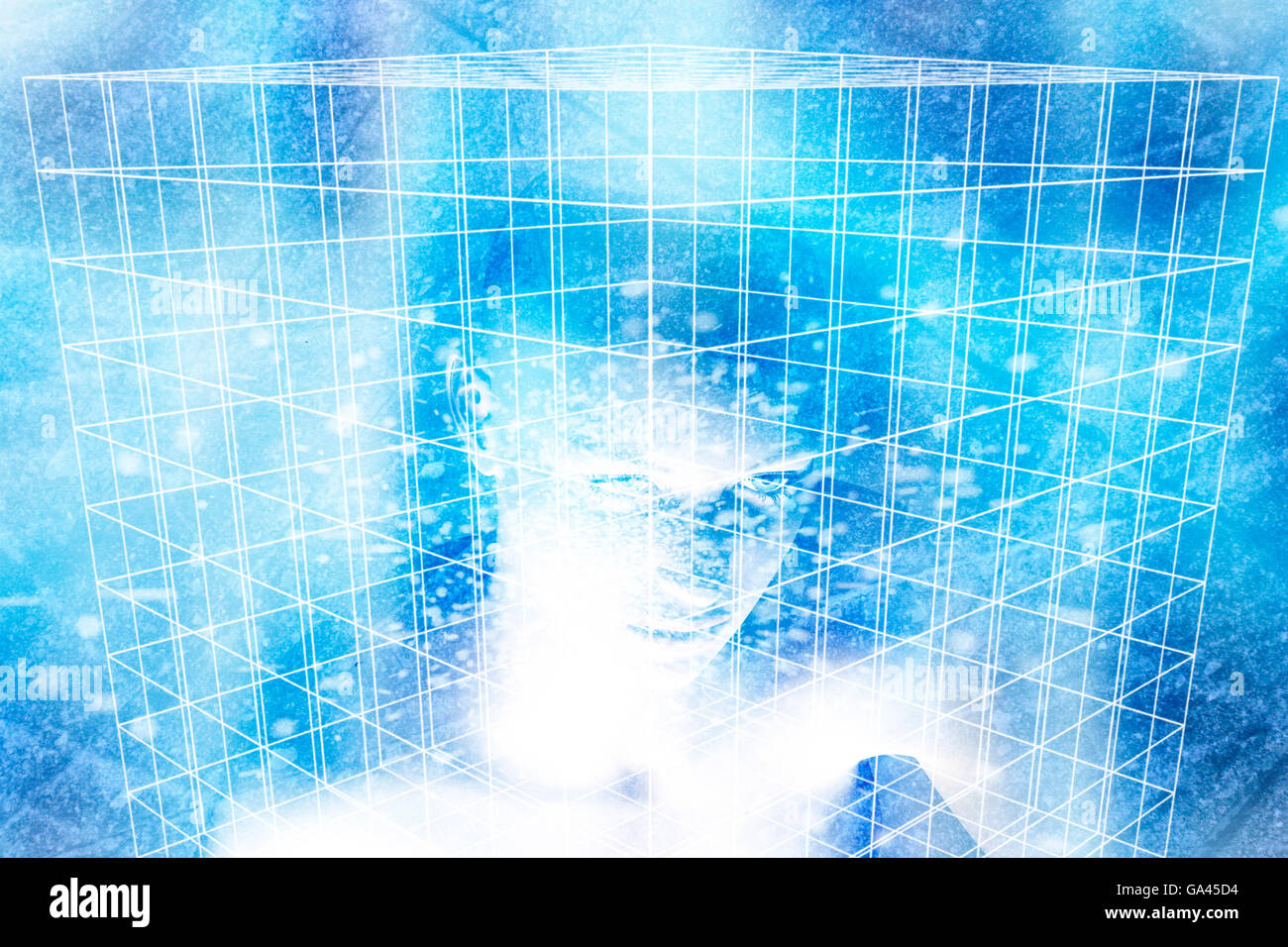 grid cube with a female android inside it - Stock Image