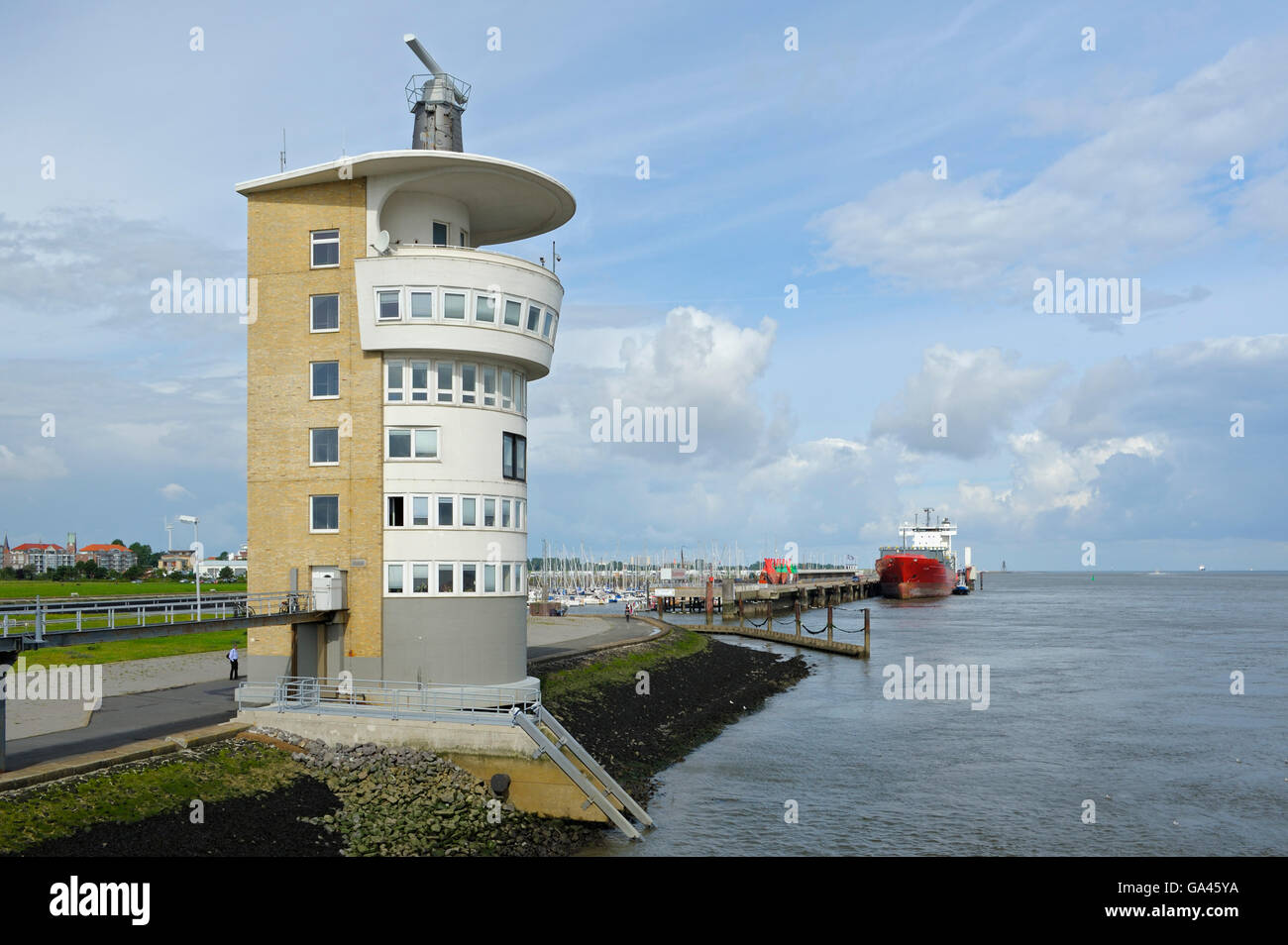 Radar tower, harbour, Cuxhaven, Germany - Stock Image