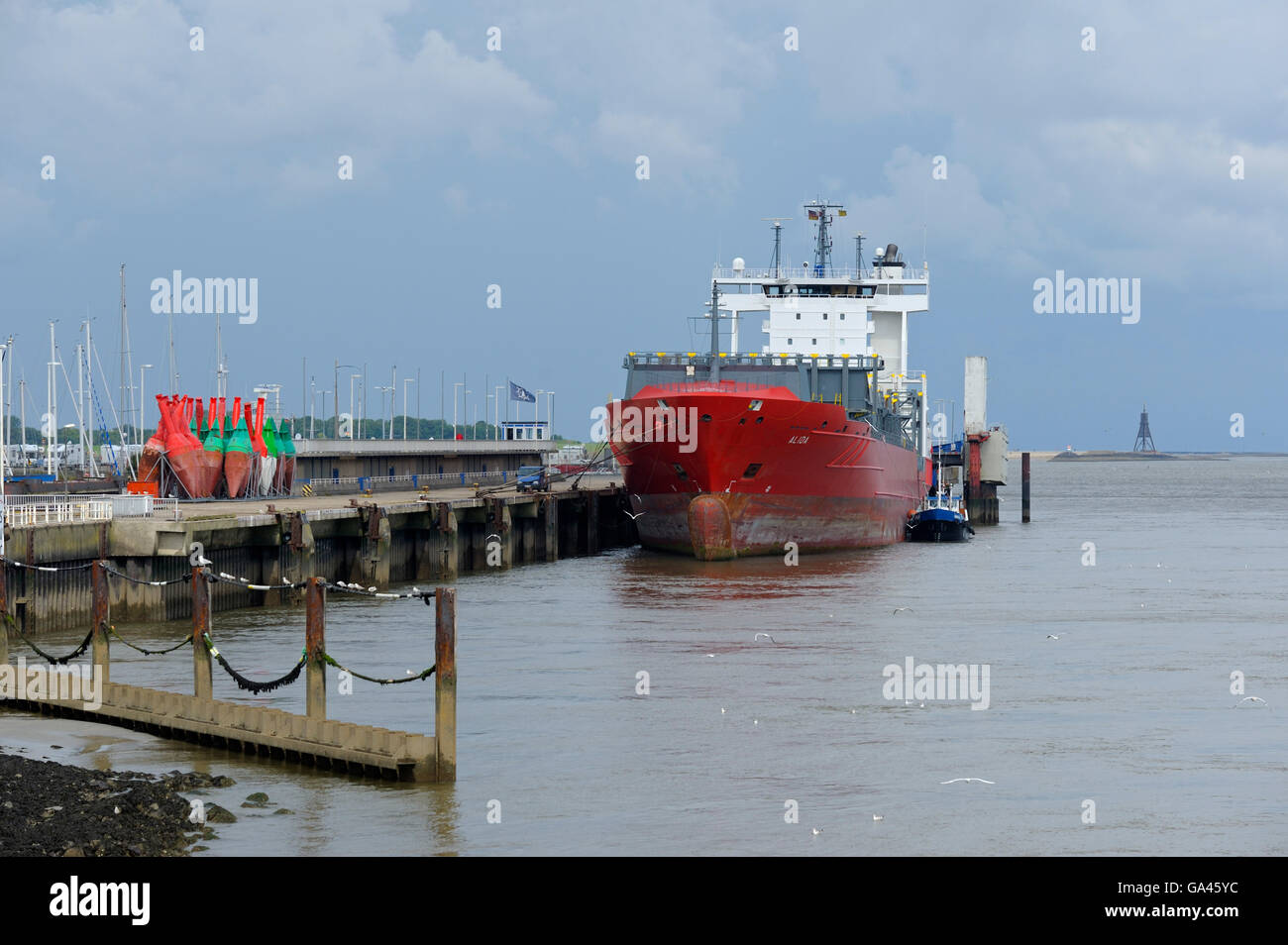 Freighter in Harbour, Cuxhaven, Germany - Stock Image