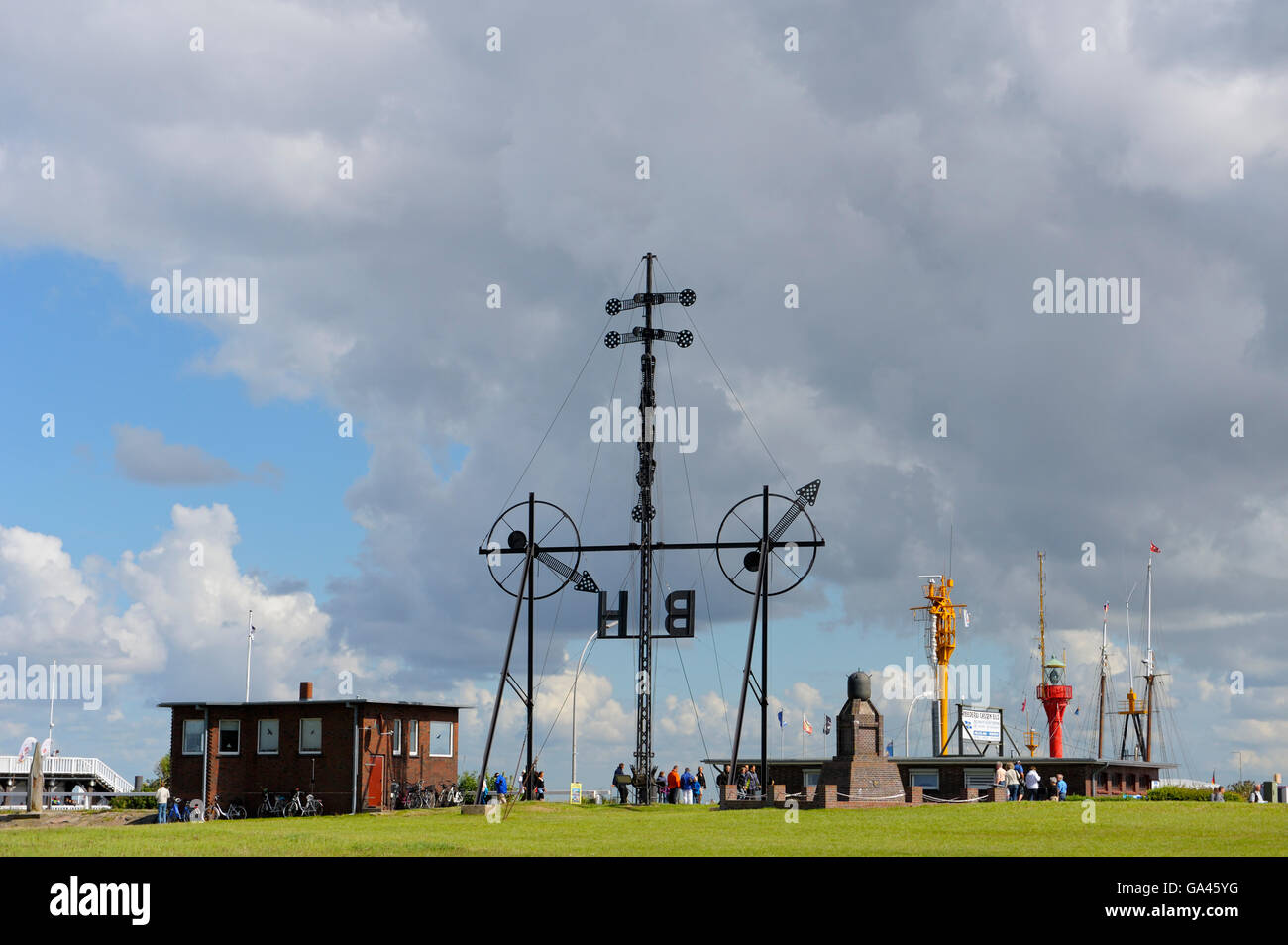Monument, harbour, Cuxhaven, Germany - Stock Image