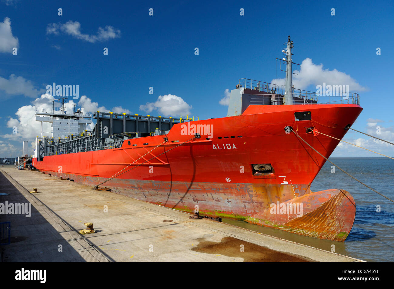 Cargo ship, harbour, Cuxhaven, Germany - Stock Image