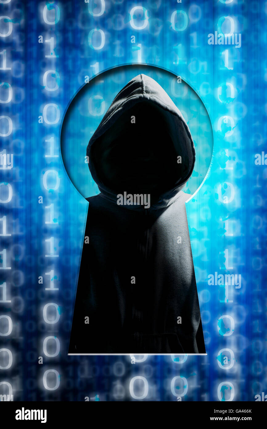 hacker inside a keyhole, security breach concept - Stock Image