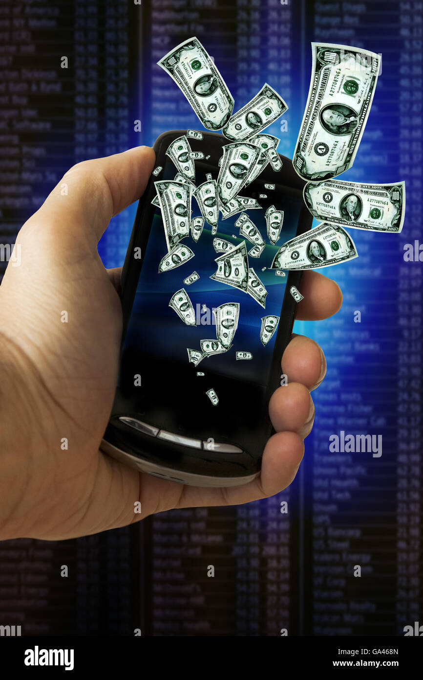 concept for investing in stock market using smartphones - Stock Image
