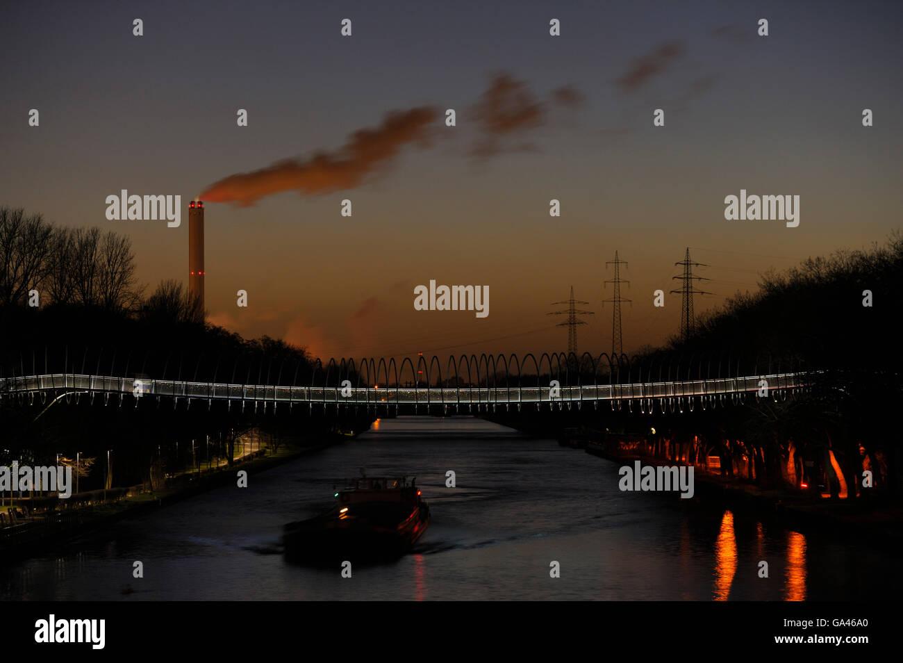 Rhein-Herne-Kanal, in the evening, Oberhausen, Germany - Stock Image