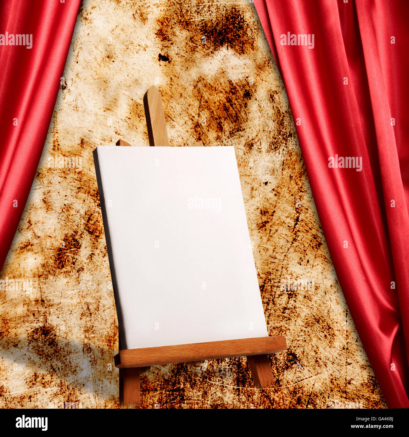 a painter easel with blank canvas - Stock Image