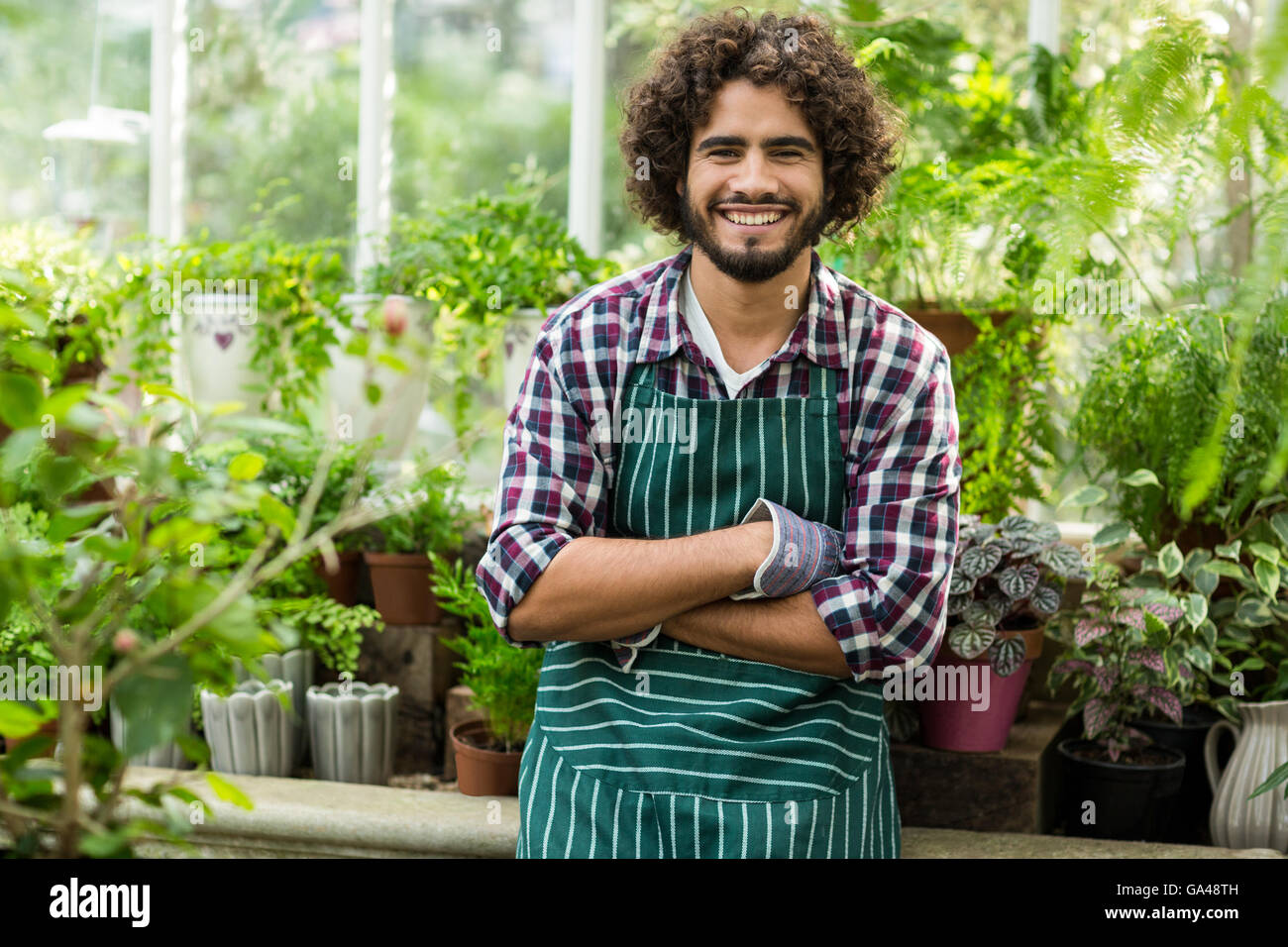 Male gardener with arms crossed at greenhouse - Stock Image